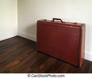 古い, スーツケース, 上に, 木製の 床
