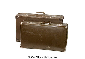 古い, スーツケース, 隔離された, 2, 背景, 白