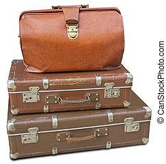 古い, スーツケース, 革, 隔離された, 2, 袋, 背景, 白