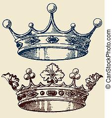 古い, セット, 王冠