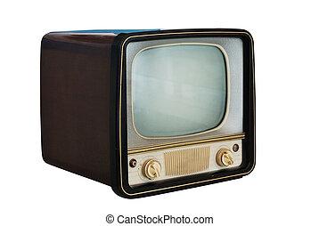 古い, セット, 白, 型, テレビ