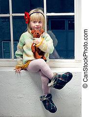 古い, タイツ, セーター, 編まれる, 3, 年, 女の子