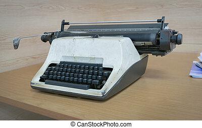古い, タイプライター, 置かれた, 上に, a, desk.