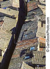 古い, タイルを張られた 屋根, 都市で, の, siena