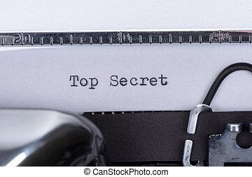 古い, テキスト, 上, 書かれた, 秘密, タイプライター