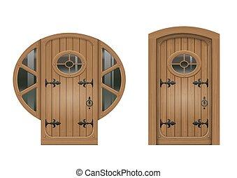 古い, ドア, アーチ形にされる