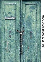 古い, ドア, ロックされた