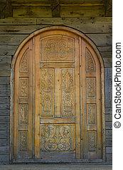 古い, ドア, 刻まれた