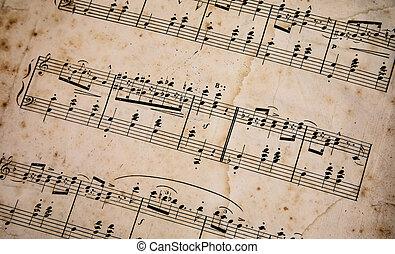 古い, ノートペーパー, 音楽