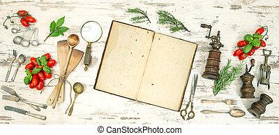 古い, ハーブ, 型, 野菜, 道具, 料理の本, 台所