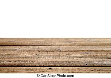 古い, バックグラウンド。, 木製である, 浅い, 隔離された, フィールド, 深さ, テーブル, 白