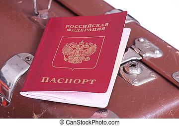 古い, パスポート, スーツケース