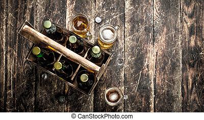 古い, ビール, box., びん
