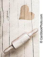 古い, ピン, 木製である, 小麦粉, 分散させる, 回転