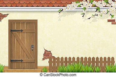 古い, フェンス, 木製である, ブランチ, ファサド, ドア, 草