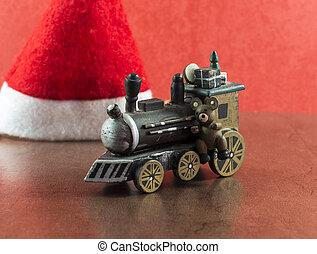 古い, ブラウン, 木製の列車