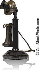 古い, ベクトル, 電話。, 作られた, イラスト
