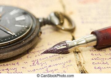 古い, ペン, 手紙, 背景