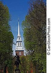 古い, ボストン, 像, 教会, 北, paul に崇拝しなさい