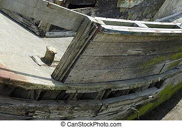 古い, ボート, 大破