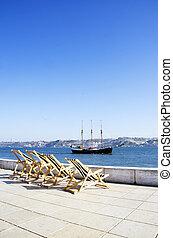古い, ポルトガル, tejo, リスボン, 巡航, 川の ボート