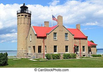 古い, マカナック, ポイント, 灯台, 中に, mackinaw, 都市, ミシガン州