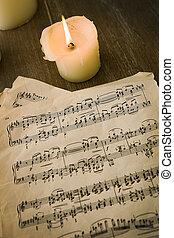 古い, メモ, ペーパー, 音楽
