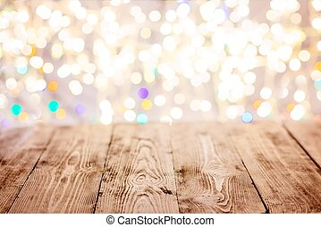 古い, ライト, 背景, テーブル, クリスマス, 空