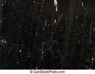 古い, ラッカーを塗られた, 木製の肉質, ペイントされた, 黒, 板, scratched.