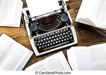 古い, レトロ, タイプライター, 上に, 木製の机