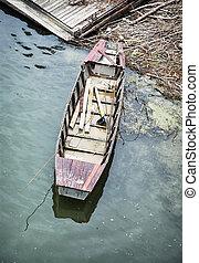 古い, レトロ, ボート, 水