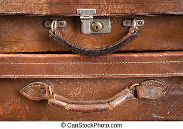 古い, ロックされた, スーツケース