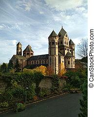 古い, 中世, マリア, 1093, -, 修道院, 創設される, ベネディクト, laach, 前部, 最初に, ドイツ, 光景