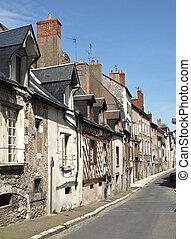古い, 中世, 通り, 中に, ∥, フランス語, 小さい 町