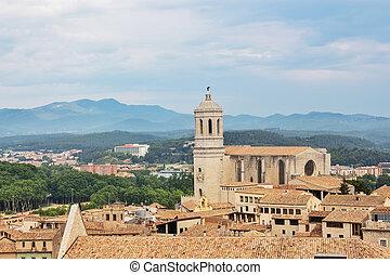 古い, 中心, 上に, girona, カタロニア, 光景