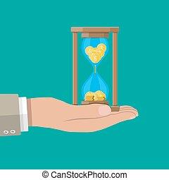 古い, 中, コイン, 手, clocks, 砂時計