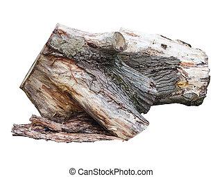古い, 丸太, 木製である, 上に, 隔離された, 切り株, 白