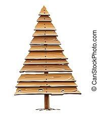 古い, 作られた, vector., 木製である, クリスマスの 休日, 木, planks.