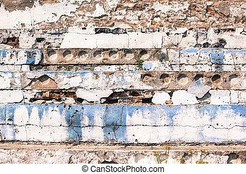 古い, 具体的な 壁, ∥で∥, 青, ブロック