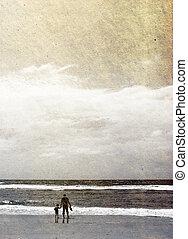 古い, 写真, イメージ, 父, 休暇, sonr, sea., style.