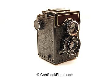 古い, 写真, 上に, 隔離された, カメラ, 背景, 白