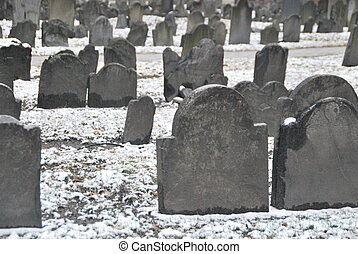 古い, 冬, 墓地