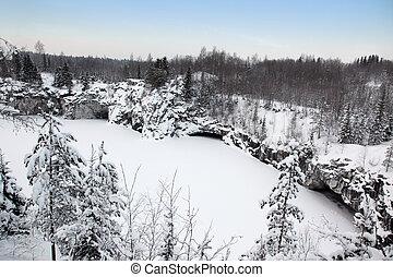古い, 冬, 採石場, karelia, ロシア, 大理石