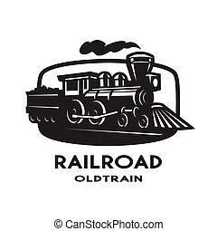 古い, 列車, logo., 蒸気, 紋章
