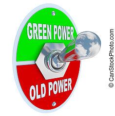 古い, 力, エネルギー, -, スイッチ, トグル, 緑, vs.