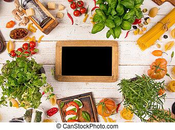 古い, 原料, 食物, 木製である, 背景, イタリア語
