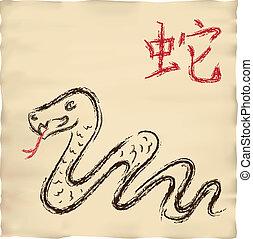 古い, 図画, ヘビ, インク, 羊皮紙, カード