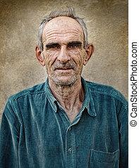 古い, 型, はげ, 年配, 芸術的, 背景, 写真, グランジ, 人