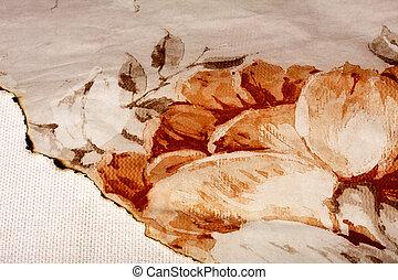古い, 型, ぼろを着ている, 端, 背景, 燃やされる, 羊皮紙