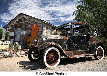 古い, 型, フォード, ∥横に∥, アメリカ人, 家